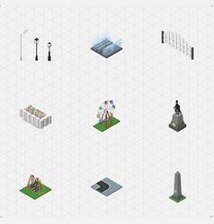isometric architecture set of street lanterns vector image vector image