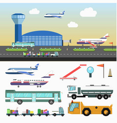airport structure and special vehicles set on vector image