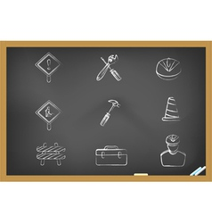blackboard Construction icons vector image vector image
