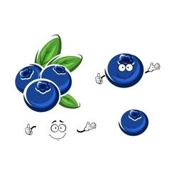 Cartoon fresh blueberry fruits on white vector