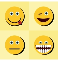Emoji emoticons icons on yellow background with vector image