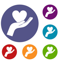 hand holding heart icons set vector image