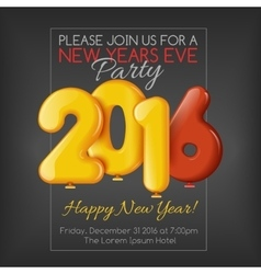 Invitation to new year party with balloons vector