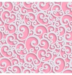 Pink 3d Floral Damask Seamless Pattern vector image