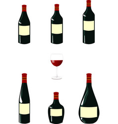 Red Wine Bottles Pack vector image