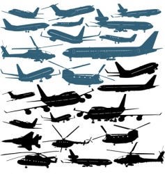 aircraft silhouettes vector image vector image