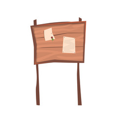announcements on an old wooden board vector image vector image