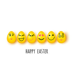 easter eggs with different facial expressions on vector image