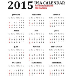Simple usa calendar for 2015 american holidays are vector