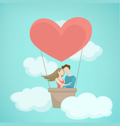 valentine day concept heart shape hot air baloon vector image