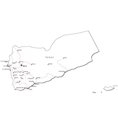 Yemen Black White Map vector image vector image