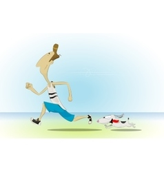 Cartoon man running with his little dog vector