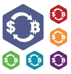 Dollar-bitcoin exchange icon hexagon set vector image
