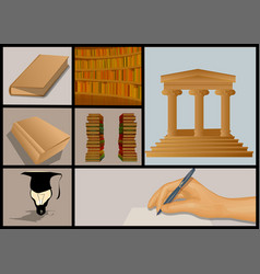 education and books set vector image