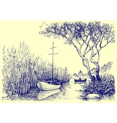 Nature sketch boats on river fishermen at work vector