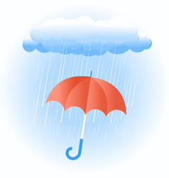 rain cloud with red umbrella vector image vector image