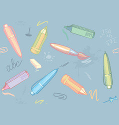 seamless background of stationery vector image vector image