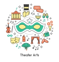 Theater Arts Line Art Outline Icons Set with Mask vector image vector image
