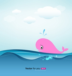 whale in blue sea vector image vector image