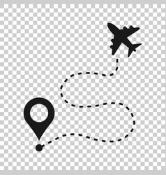 Airplane flight route icon in transparent style vector