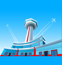 Airport aircraft airplane control tower terminal vector