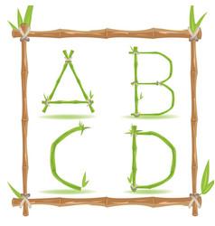 bamboo letter alphabet green set a vector image
