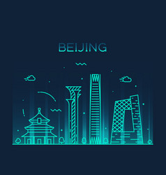 beijing skyline china linear style city vector image