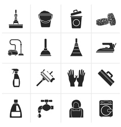 Black Cleaning and hygiene icons vector image