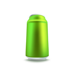 blank green aluminum soda or beer can mockup in vector image