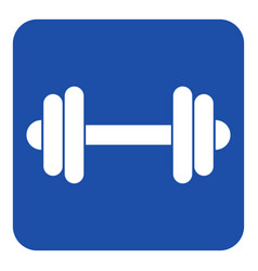 Blue white information sign - dumbbell icon vector