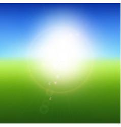 Blurry green landscape with blue sky summer sun vector