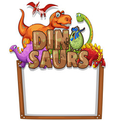 Border template with many dinosaurs vector