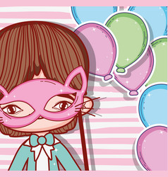 Boy wearing cat mask and balloons decoration vector