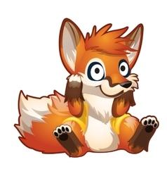 Brooding red cartoon sitting fox vector image