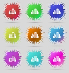 Buildings icon sign A set of nine original needle vector image