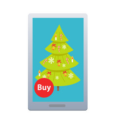 Buying nice fir tree online on white background vector