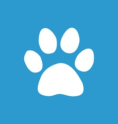 Cat footprint icon white on the blue background vector