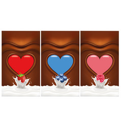 Chocolate heart background with berries vector