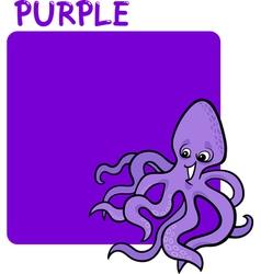 Color Purple and Octopus Cartoon vector