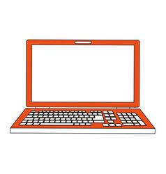 Color silhouette image cartoon front view laptop vector