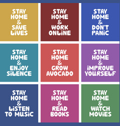 Colorful banner collection quotes about home vector