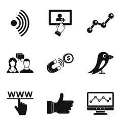 Communication development icons set simple style vector