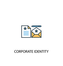 corporate identity concept 2 colored line icon vector image