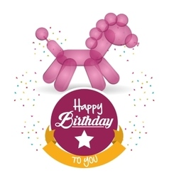 cute balloon horse happy birthday confetti ribbon vector image