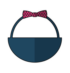 cute basket with bow vector image