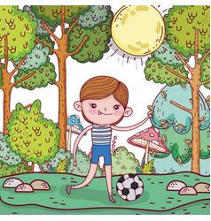 Cute boy play soccer with ball vector