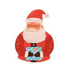 cute santa claus hold christmas gift happy xmas vector image