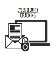 Cyber security system laptop design vector