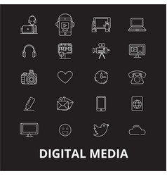 digital media editable line icons set on vector image