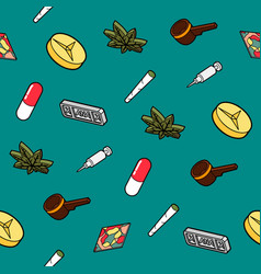 drugs flat outline isometric pattern vector image